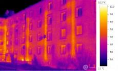 Termogram - únik tepla fasádou - stoupačky